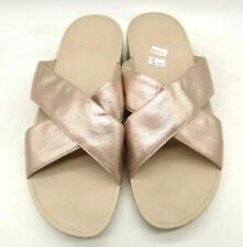 Fit Flop Rose Gold Cross Strap Casual Slide Sandals Shoes Women's 11
