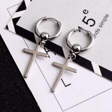 Loop Earrings Piercing for Women Men 1Pair Fashion Silver Cross Dangle Hoop