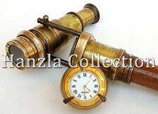Antique Vintage Canes With Clock Brass Hidden Telescope Wooden Walking Stick