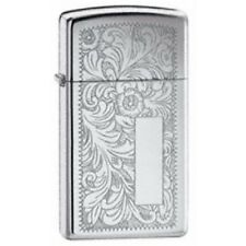 Slimm High Polish Chrome Venetian Zippo Lighter - Slim Smokers Gift Present