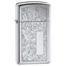 Slimm High Polish Chrome Venetian Zippo Lighter - Slim Smokers Gift Present