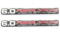 2 Pack 6.0 PowerStroke Intercooled Turbo Diesel Super Duty sticker Chrome Red