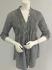 FIRE Los Angeles Women's Black Pinstriped Button Down TUNIC Shirt SZ SMALL