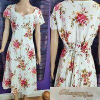 Women CHANGES BY TOGETHER Floral Dress Size  14 Linen Blend Tie Back Fit & Flare