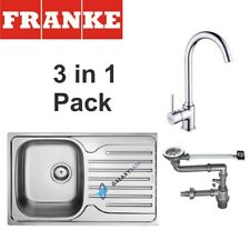 FRANKE POLAR 1.0 BOWL DRAINER & WASTE STAINLESS STEEL + KITCHEN TAP 3IN1 PACK