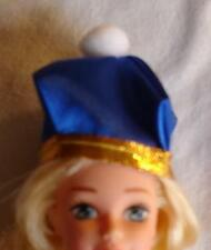 Barbie doll hat Fashion Ave blue with gold trim
