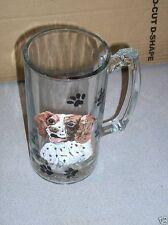 "Handpainted Cocker Spaniel Dog Glass Beer Mug 7 1/4"" T NEW"