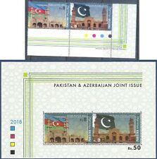 12- Pakistan 2018. Full Set & S/Sheet of Joint Issue With Azerbaijan. Mosque.
