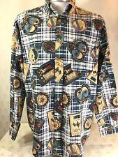 Vtg Tommy Hilfiger Men Size L L/S Golf Shirt Open Golf Champ Print Button Down