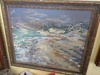 Modernist Seascape Oil Painting, Original Frame, Signed Vintage Beach
