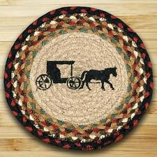 "AMISH BUGGY 100% Natural Braided Jute Swatch, 10"" Trivet/Placemat, by Earth Rugs"