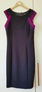 Marks & Spencer Dress Size 10 Black Mix Purple Smart Work Short Sleeve Lined