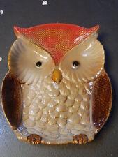 Glazed Ceramic Owl Plate Decorative Fall