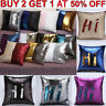 Magic Reversible Mermaid Sequins Cushion Glitter Cover Sofa Throw Pillow Case UK