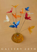 COOL! MID CENTURY MODERN LUCITE KINETIC BIRD SCULPTURE! 60'S ART VTG ATOMIC WIRE