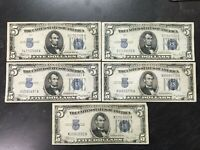 5 1934 UNITED STATES $5 DOLLAR SILVER CERTIFICATES LOT F-VF