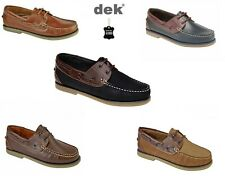 DEK Mens Boat Shoes Nubuck or Leather Casual Moccasin Deck Size 6,7,8,9,10,11,12