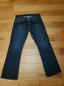 $189 Men's True Religion Basic Boot Cut Distressed Flap Jeans Cotton Sz 36 X 34