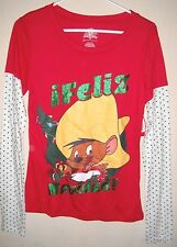 juniors NEW NWT size large 11/13 red FELIZ NAVIDAD TOP SHIRT mouse SPARKLES dots