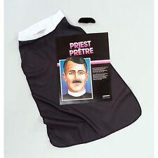 VICAR PRIEST SET SHIRT FRONT & MOUSTACHE Mens Fancy Dress Costume Kit