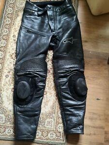 Noir uni Cuir de Vachette Pantalon de Moto W34 L28 Homme Sliders int/égr/és