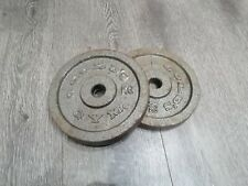 "2x 5kg Gold Weight Plate. 1"" Hole. Used"