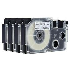 Compatible for Casio XR-9X 9mm 8m Label Tape KL430 Laminated Black on Clear 4pk