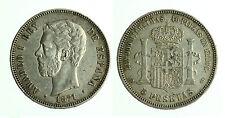 pcc1783_2) SPAGNA 5 PESETAS 1871 (71) SD M AMEDEO I