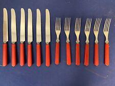 Antique MCM Red Bakelite Forks and Knives Flatware A4