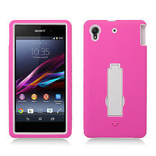 For Sony Xperia Z1 IMPACT Hard Rubber Case Phone Cover Kickstand Hot P