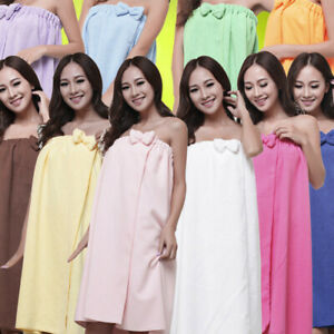 Women's Girls Shower Comfy Absorbent Microfiber Bow Spa Body Wrap Bath Towel