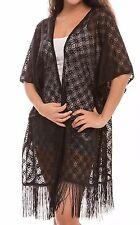 Women's Fashion Swimwear CoverUps Top Dress Chiffon Kimono Cardigan with Fringes