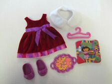 Dora Dress Up Doll Outfit Clothes Christmas Adventure Dress Shoes Cookies Book s