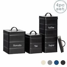 4x Kitchen Storage Canisters Set Tea Coffee Sugar Biscuit Vintage Metal Black
