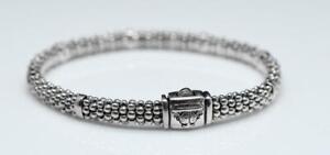 "Designer Lagos ""Caviar"" Popcorn Bead Chain Rope 925 Sterling Silver Bracelet"