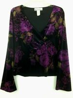 Dressbarn Women's Velour Top Embellished Long-Sleeve Floral Multi-color Size M
