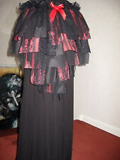 NEW Black Red Tatty stripes Skirt Halloween bustle Party  Witch Gothic One size