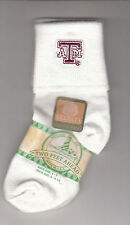 Texas A&M Infant Socks, Size 5-6 1/2, White W/Logo, By Two Feet Ahead, Brand New