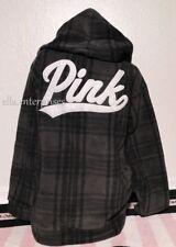 Victoria's Secret Pink Gray Black Plaid Polar Fleece Campus Pullover Hoodie - L