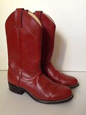 Womens Laredo Red Leather Round Toe Roper Cowboy Boots~6.5 M