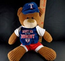 "Plush MLB Texas Rangers Baseball Rally Bear Stuffed Toy w/ Hat 16"""