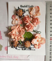 CORAL & BLACK Mix 10 Flowers 7 Styles PAPER & SILK Flowers 25-45mm VC1