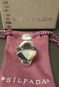 Silpada 'True to Form' Mother-of-Pearl Inlay Sterling Silver Modernist Ring