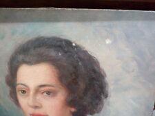 Signé P. Forest  , Huile sur toile du portrait d'une jolie femme 55 x 46 cm