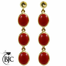 Pendientes de joyería con gemas rojo natural oro amarillo