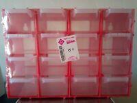 Caja multiusos apilable con 16 cajones para tornillos, anzuelos...