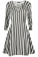Viscose V-Neck Long Sleeve Striped Dresses for Women
