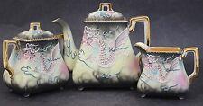 Vintage Hand Painted Embossed Dragon Porcelain Tea Pot Creamer Sugar Bowl Set