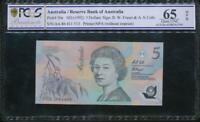 Australia 1992 $5 Banknote Fraser/Cole - PCGS 65 Gem UNC OPQ