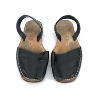 B10) Women's Black Avarca Pons Menorca Sandle-shoes Size 8 Made In Spain